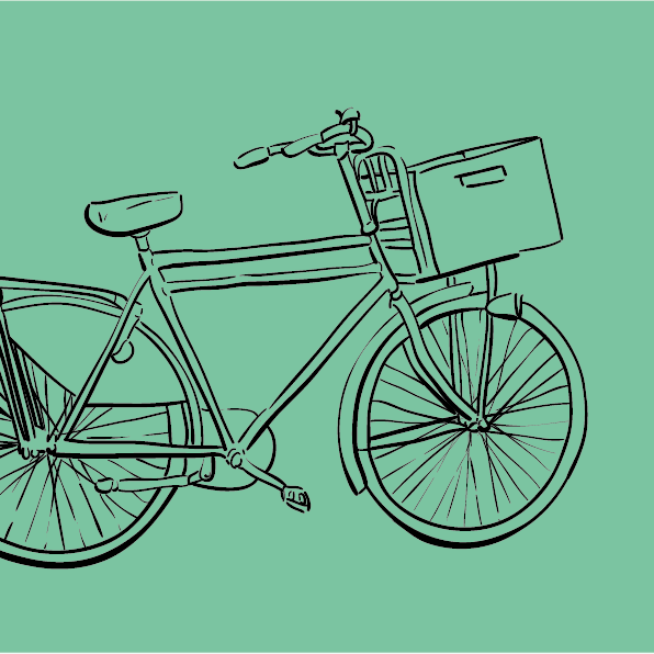 Digital Illustration Of A Bike In Amsterdam, Black Lines On Turquoise Background