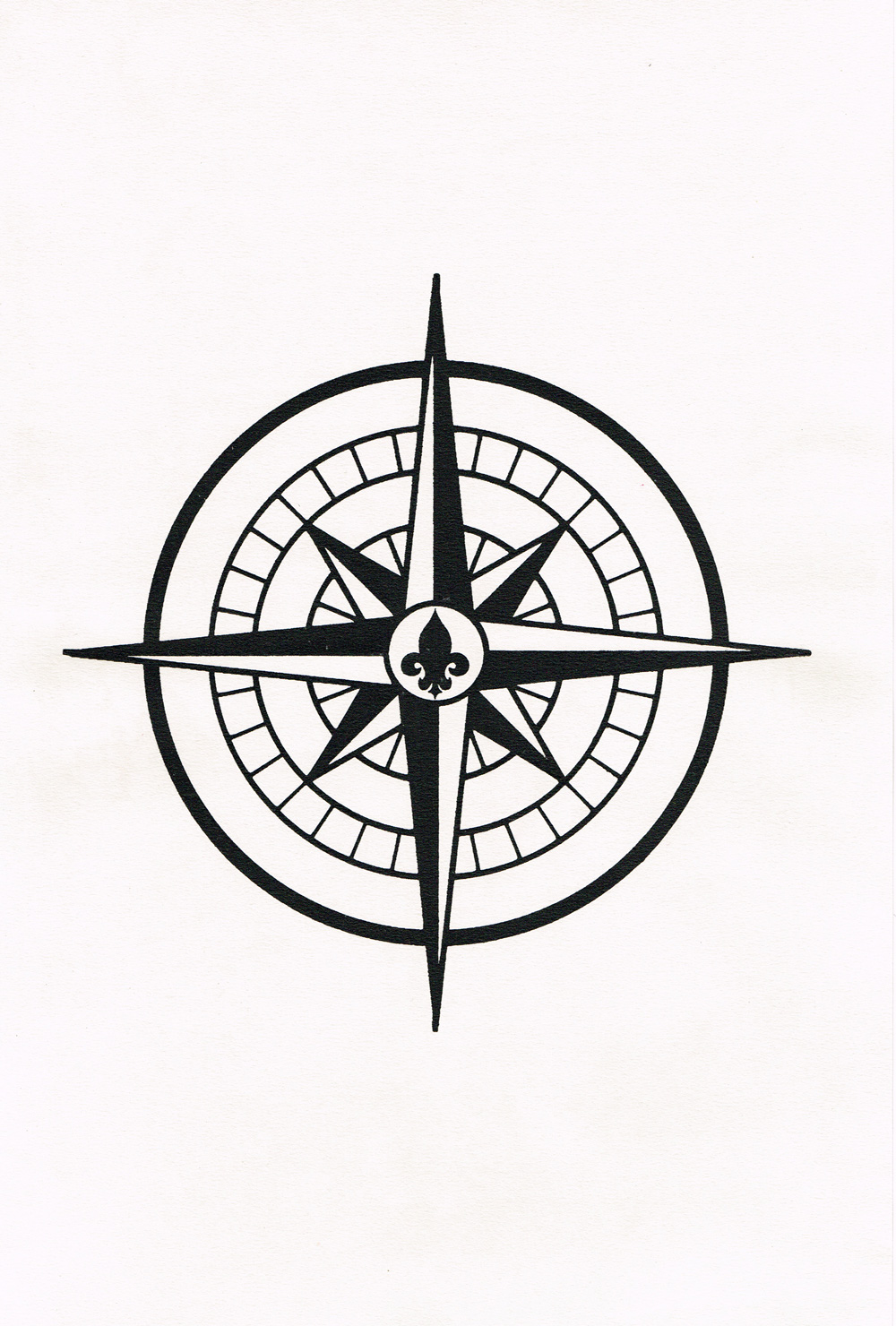Compass Screenprint In Black On Died Paper