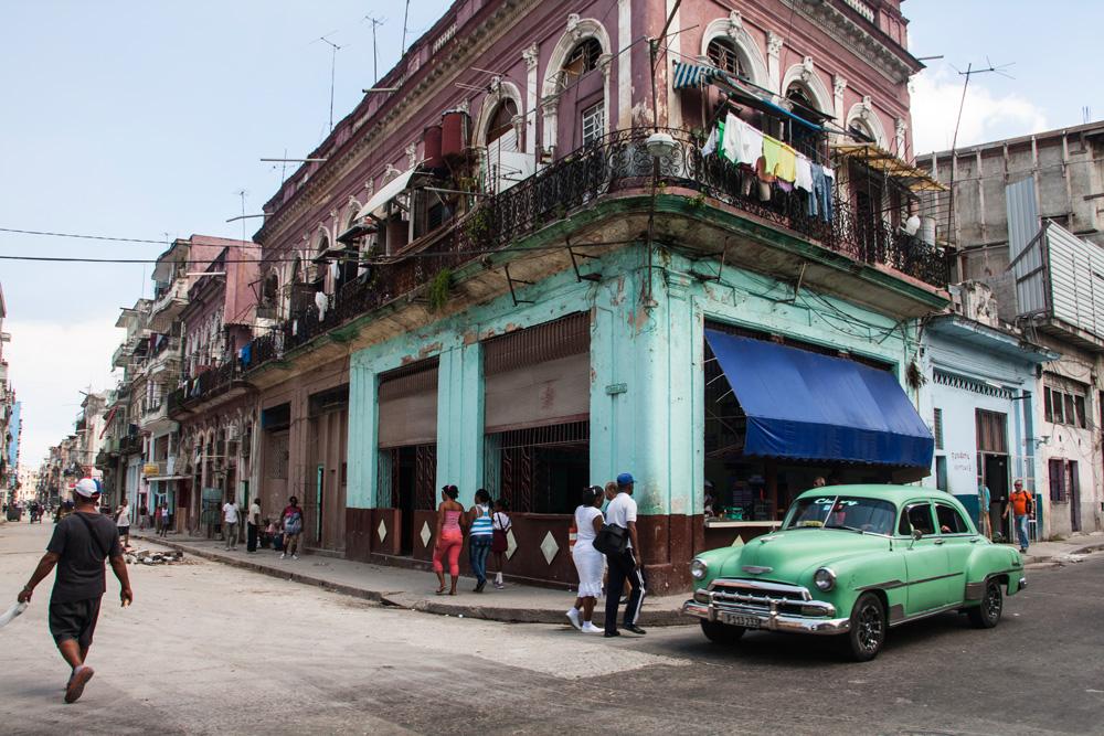 Cuba Havana, Street Photography With A Green Oldtimer
