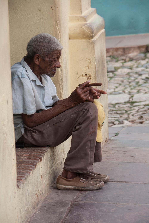 Cuba Trinidad, Old Man Smoking A Cigar By The Road