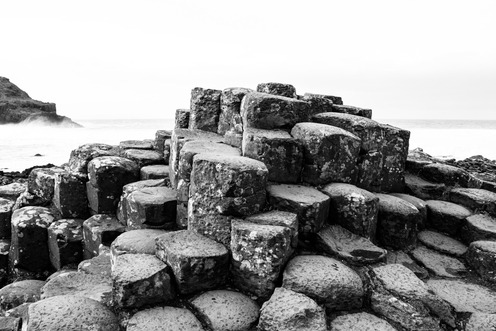 Ireland, Black And White, Giant's Causeway In County Antrim, Northern Ireland, UK