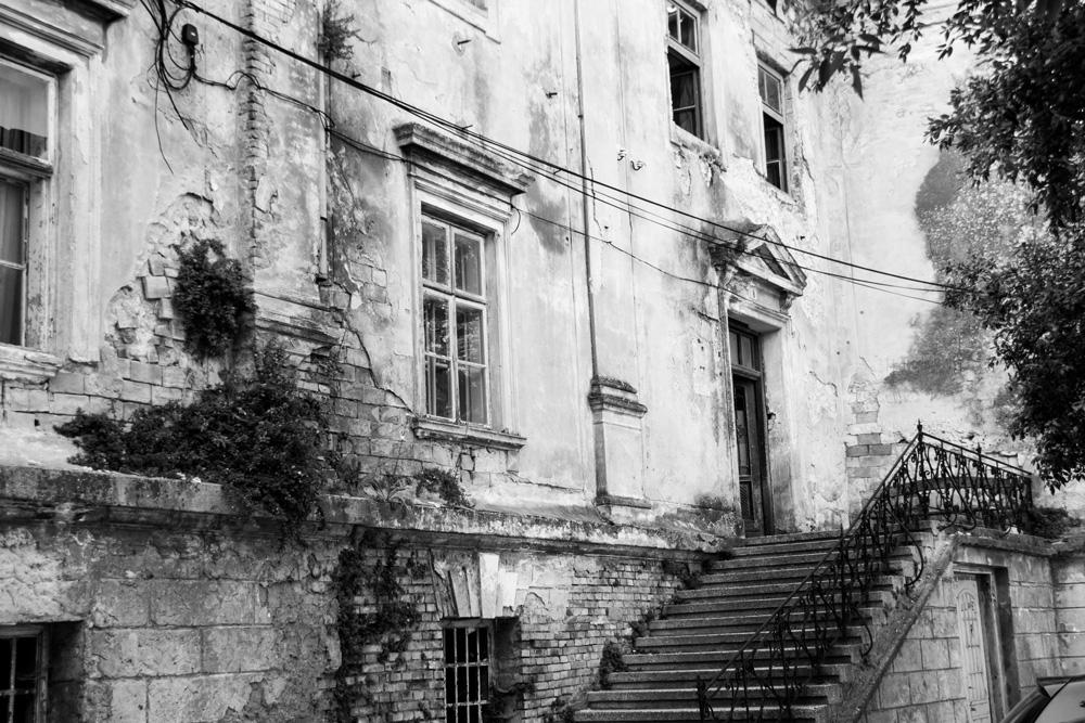 Senj, Croatia, Building With Broken Facade, Black And White