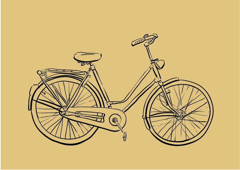 Bicycle Illustration, Digital, Solid Colored Background