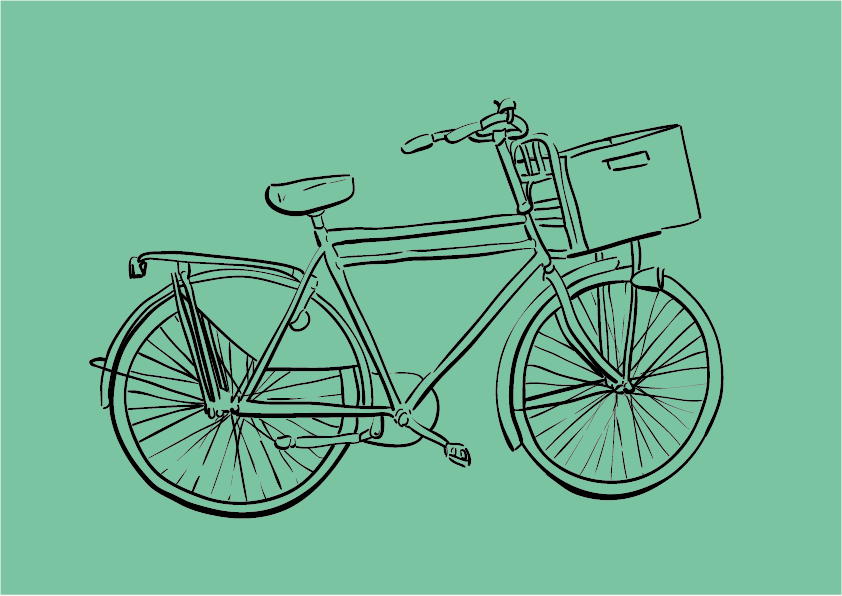Digital Illustration Of A Bike In Amsterdam, Black Lines On Turquise Background