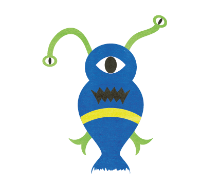 Illustration Flat Design Monster Blue
