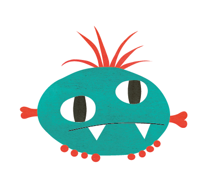 Illustration Flat Design Monster Turquoise