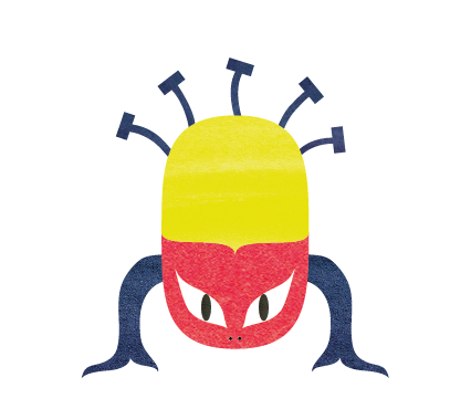 Illustration Flat Design Monster Red And Yellow
