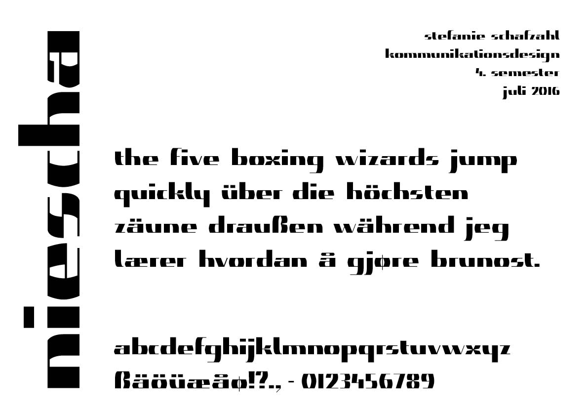 Niescha Font, Overview Of Glyphs And Example Text English. German And Norwegian