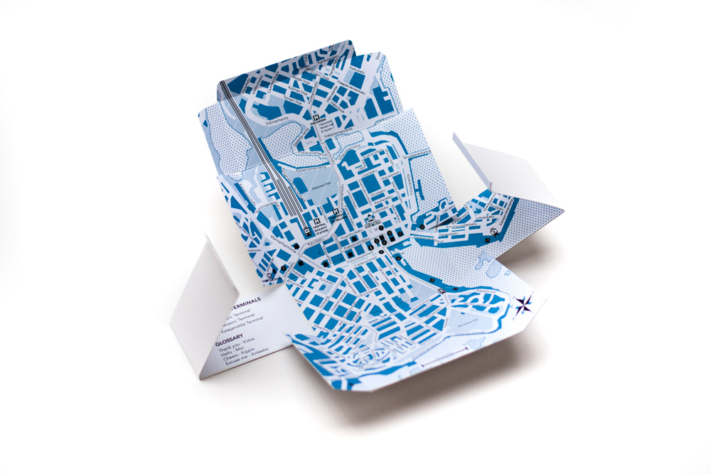 Package Unfolded With City Map Of Helsinki On The Inside