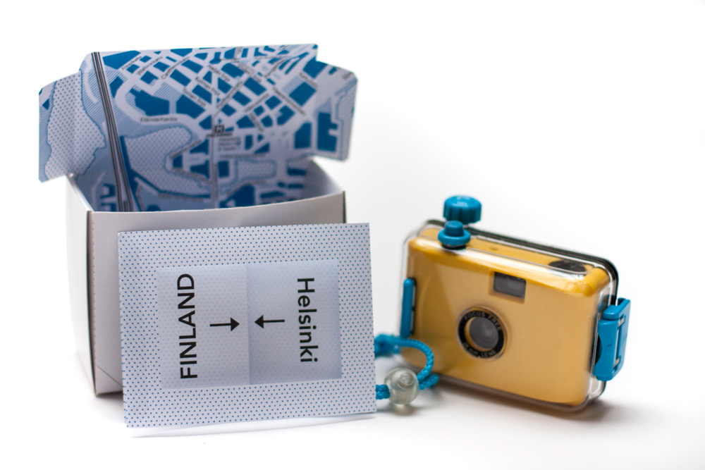Package Design Wanderlust Folding Box For Camera With City Map Of Helsinki Inside_with Camera