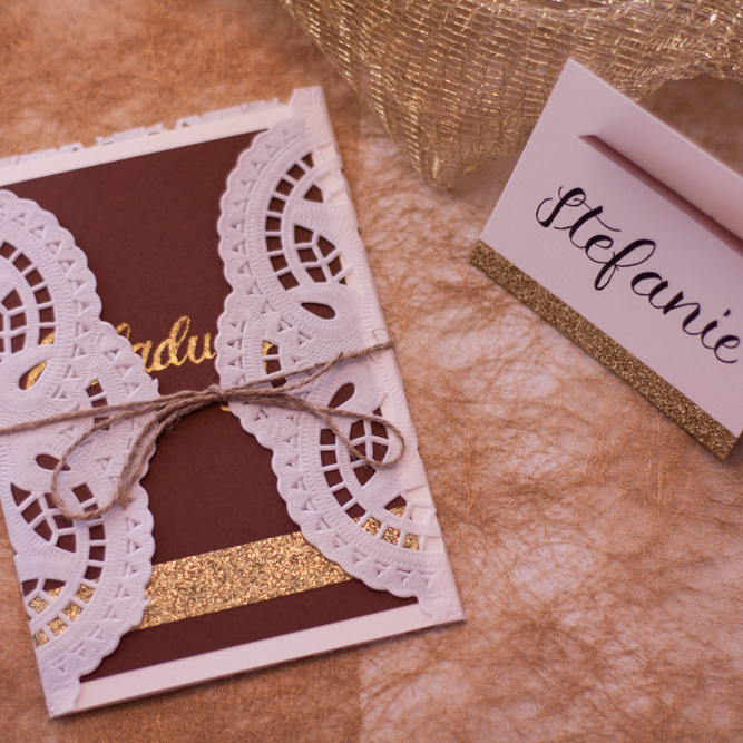 Invitation And Name Tags For A Golden Wedding