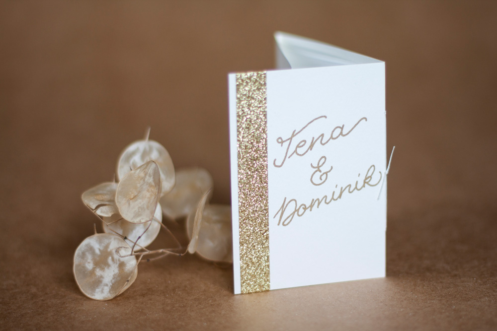Greeting Card White With Gold Handlettering