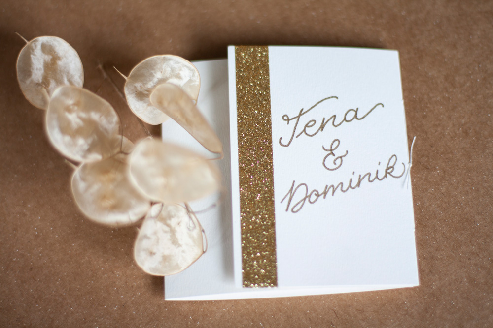 Greeting Card White With Gold Handlettering From Top