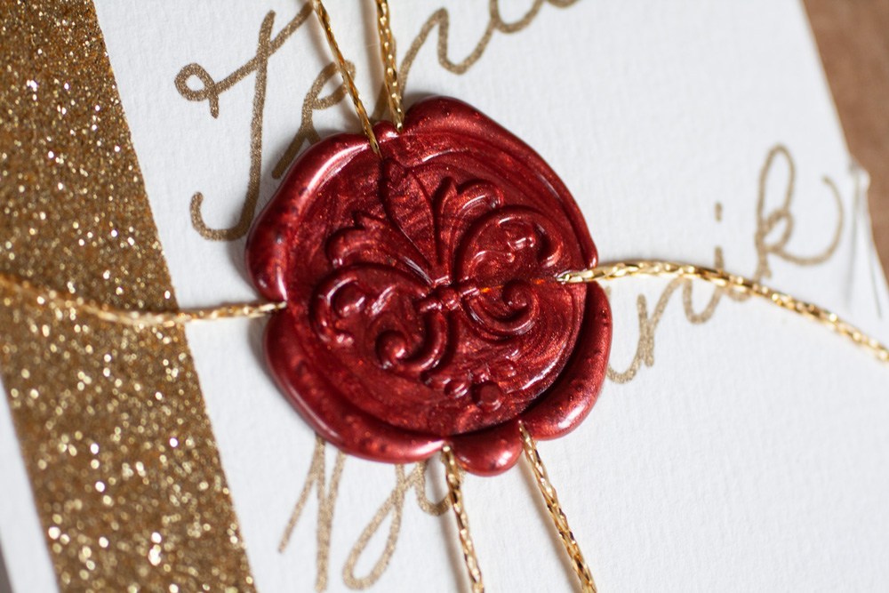 Close-up Red Wax Seal Of The Greeting Card Closure