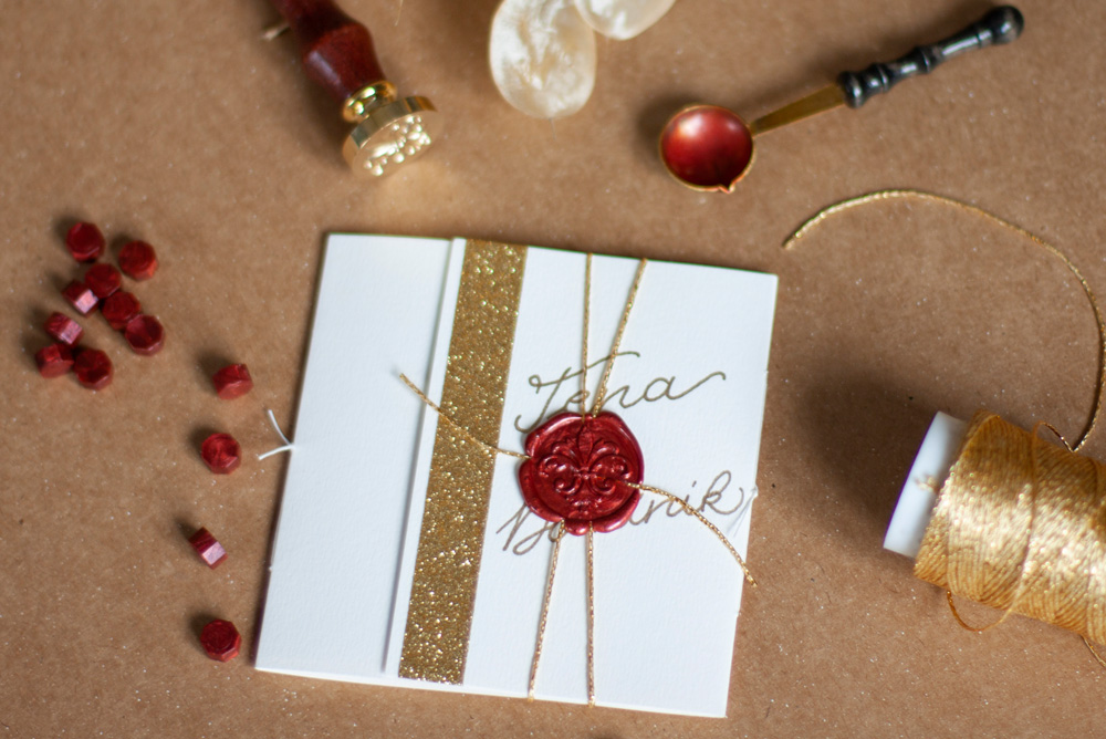 Greeting Card From Top With Wax Seal And Stamp