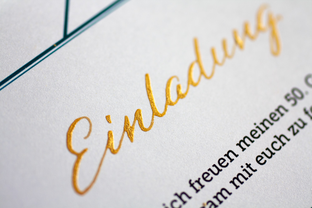 "Detail Of The Handwritten ""Einladung"" (which Means ""invitation"" In German), Written With Steno Nib In Gold"