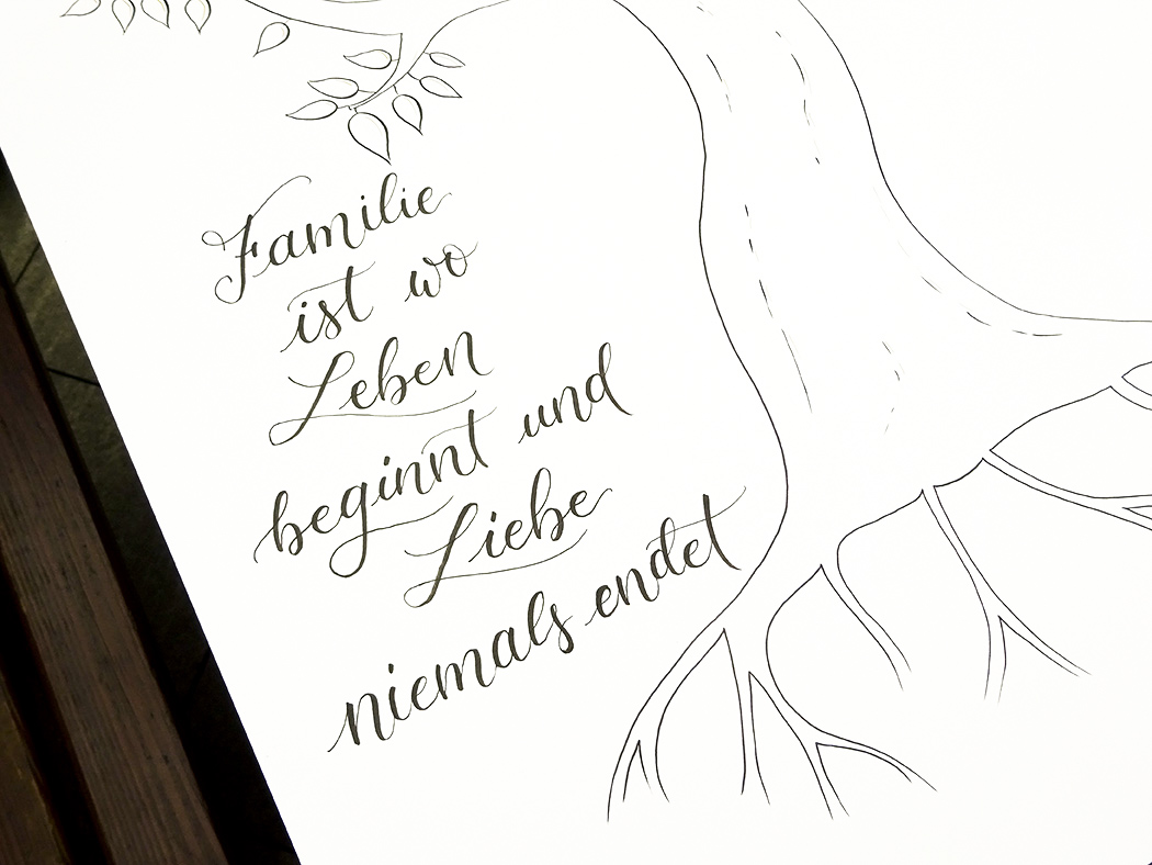 Handdrawn Family Tree With Lettering And Illustrated Tree, Lettering Detail