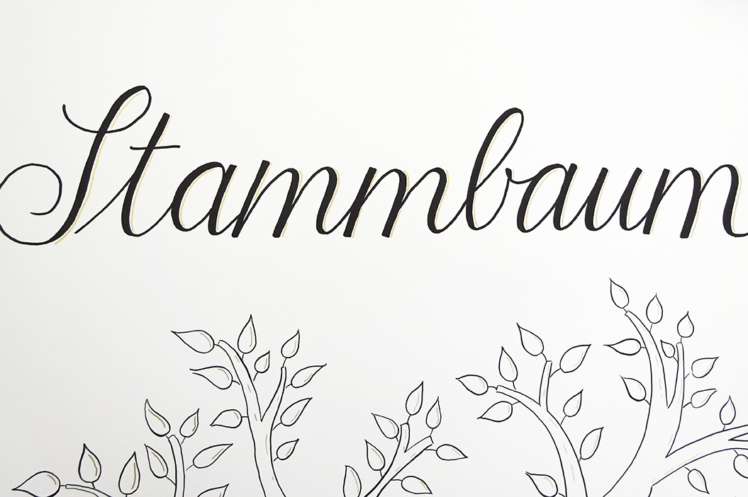 "Handdrawn Family Tree With Lettering And Illustrated Tree, Lettering Detail ""Stammbaum"" (family Tree)"