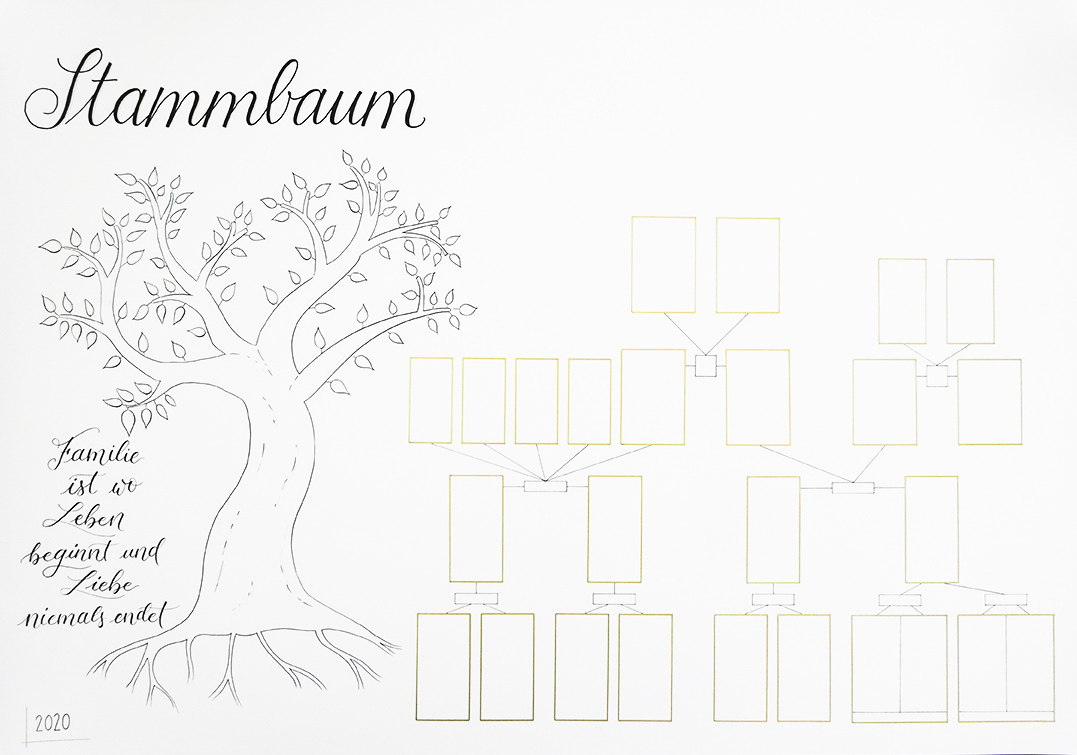 Handdrawn Family Tree With Lettering And Illustrated Tree