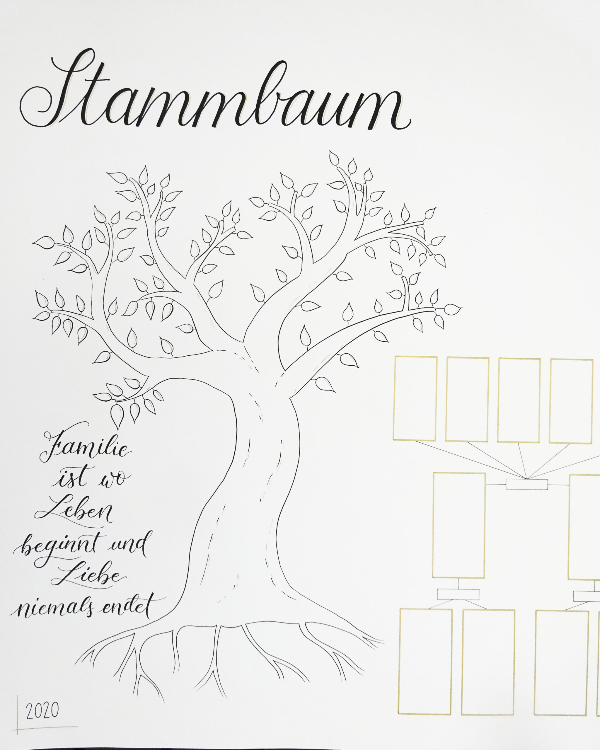 Handdrawn Family Tree With Lettering And Illustrated Tree, Detail Tree