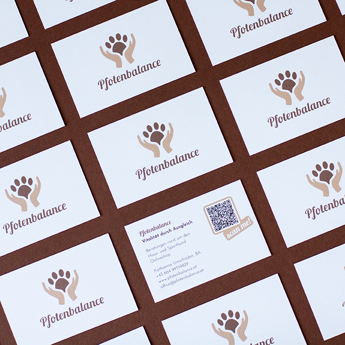 Corporate Design For Pfotenbalance, Business Cards In Flatlay Grid, Logo On Front Side, One Card Shows The Contact Details Which Are On The Backside, Brown Background