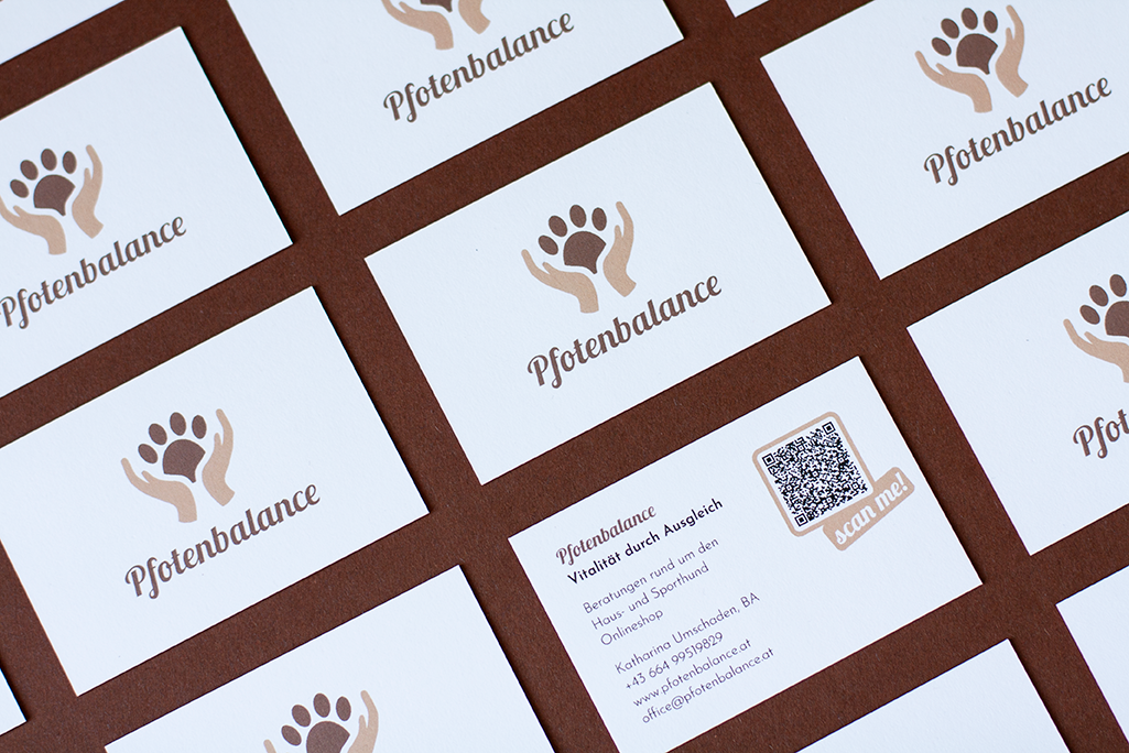 Corporate Design For Pfotenbalance, Business Cards Flatlay In Grid With Logos On Front Side