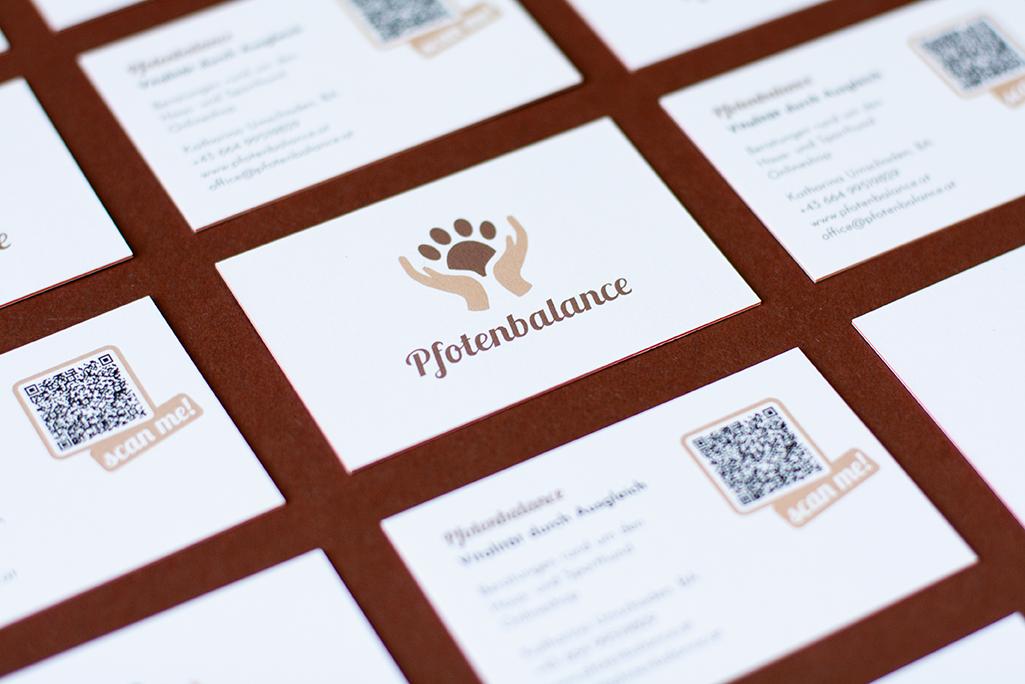 Corporate Design For Pfotenbalance, Business Cards Close-up, Focus On Logo
