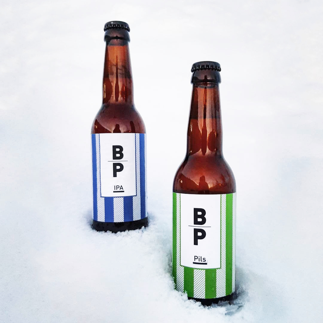 Beer Labels For BP Gastro Bar, One Colored Line Pattern With Different Colors For Different Types Of Beer